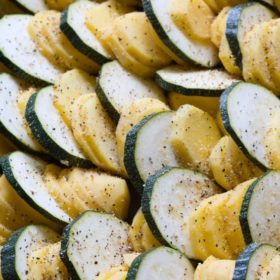 Herbes de Provence Roasted Potatoes and Zucchini on https://fearlessfresh.com/