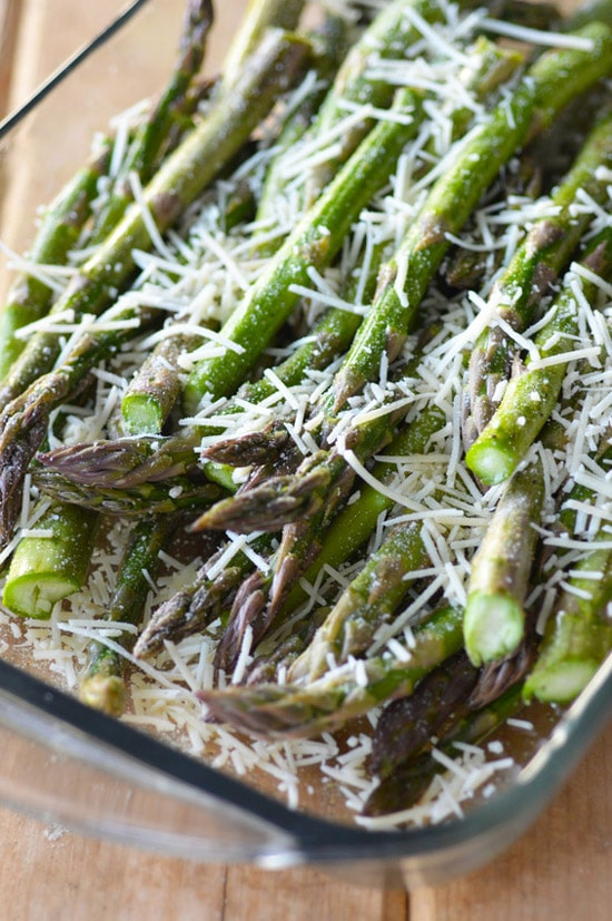 Bacon Sauteed Asparagus with Parmesan on https://www.fearlessfresh.com