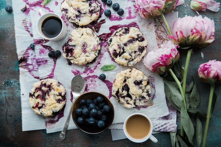 clotted cream blueberry scones