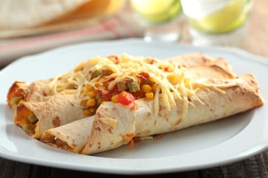 Potato Chard Vegan Enchiladas Recipe with Roasted Chili Sauce on http://www.theculinarylife.com