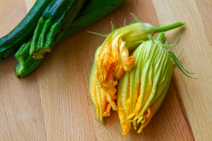 Vegan Stuffed Squash Blossoms with Potato Pumpkin Seed Filling on http://www.theculinarylife.com