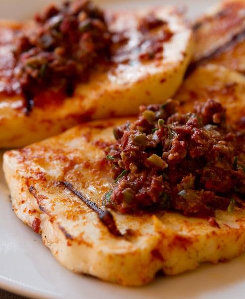 Grilled Haloumi Cheese with Olive Tapenade - Fearless Fresh