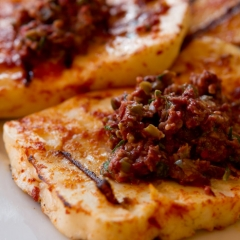 Grilled Haloumi Cheese with Olive Tapenade