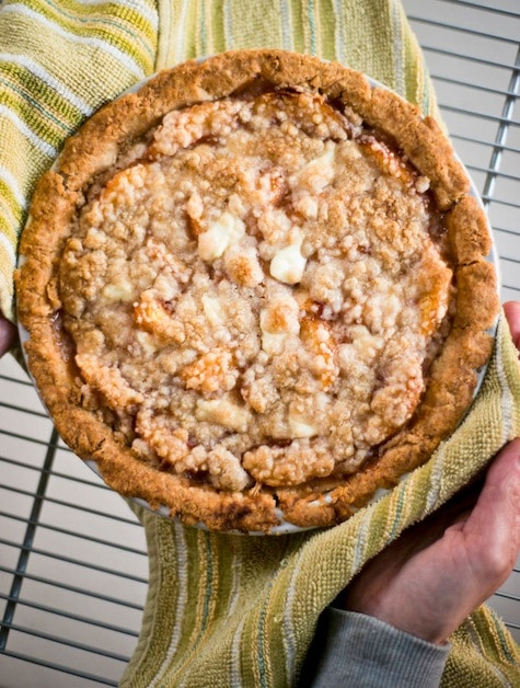 Aprium Pie with Sour Cream Custard, Rum, and Ginger with No-Roll Pie Crust