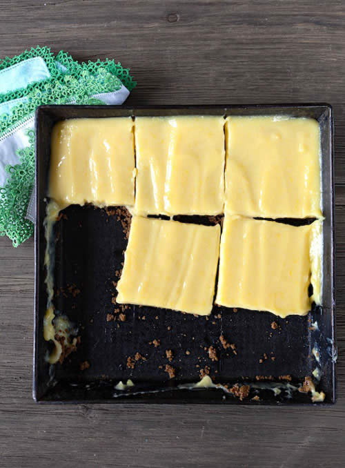 Decadent No-Bake Meyer Lemon Bars, from Bakeless Sweets on http://www.theculinarylife.com