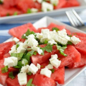 Watermelon Mint Salad on http://www.theculinarylife.com
