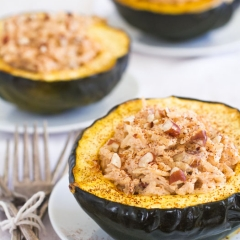 Chipotle Stuffed Acorn Squash Recipe with Ricotta, Orzo, and Pecans (sponsored post)