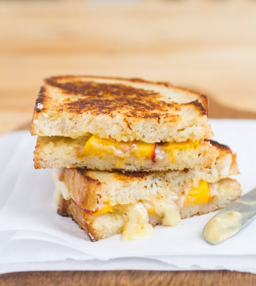 Cabot Clothbound Cheddar Peach Dijon Grilled Cheese on http://www.theculinarylife.com