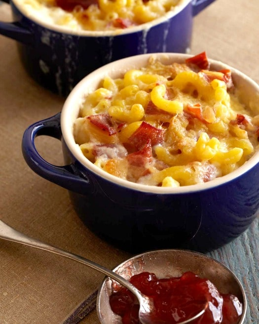 Red Hawk Macaroni with Prosciutto and Raspberry Jam on http://www.theculinarylife.com