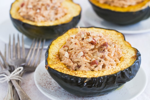 Chipotle Stuffed Acorn Squash with Ricotta, Orzo, and Pecans on http://www.theculinarylife.com