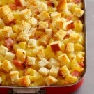 Gruyère and Emmentaler Macaroni and Cheese Casserole with Ham and Cubed Sourdough
