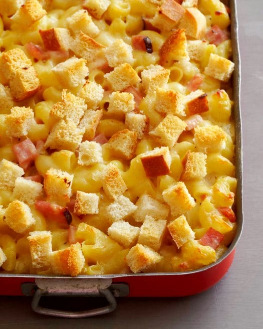 Gruyère and Emmentaler Macaroni and Cheese Casserole with Ham and Cubed Sourdough on http://www.theculinarylife.com