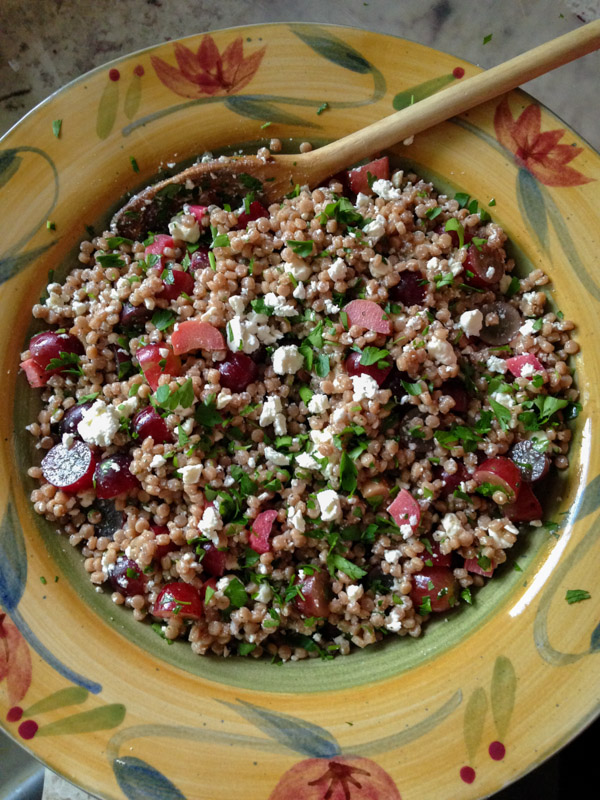 Pickled Rhubarb Couscous Salad with Feta and Grapes on http://www.theculinarylife.com