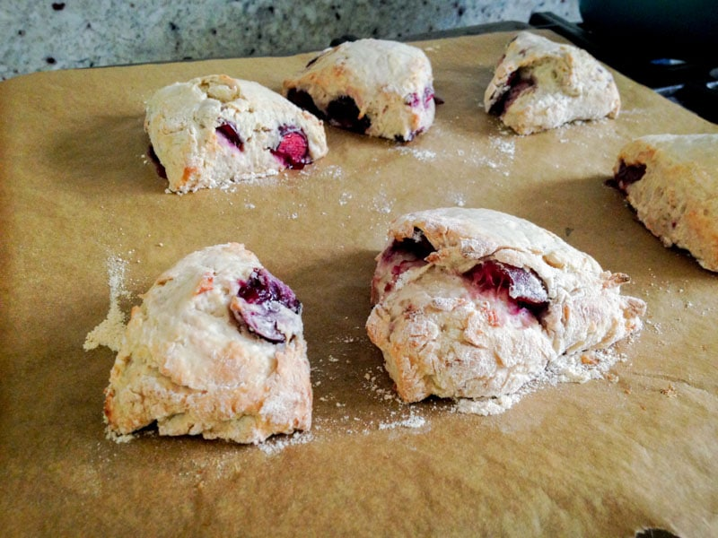 Miraculously Simple Cherry Coconut Vegan Scones on http://www.theculinarylife.com