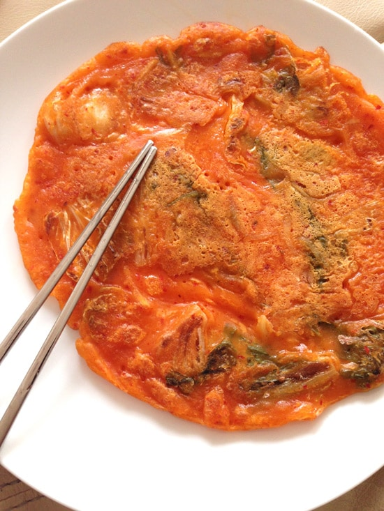 Korean Kimchi Pancake Recipe on https://www.theculinarylife.com
