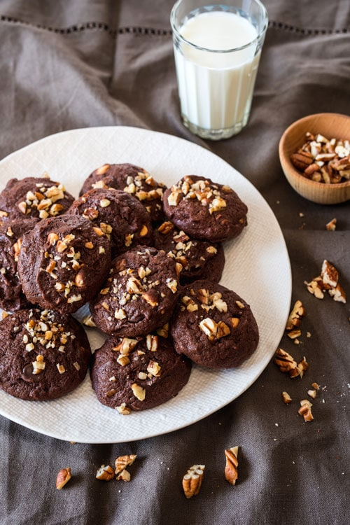 Double-Chocolate, Pecan, and Butterscotch Cookies on https://www.theculinarylife.com