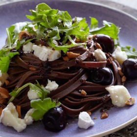Savory Chocolate Pasta with Bucherondin, Hazelnuts, and Cherries on https://fearlessfresh.com/