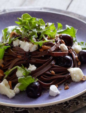 Savory Chocolate Pasta with Goat Cheese, Hazelnuts, and Cherries