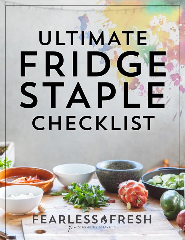Ultimate Fridge Staple Checklist on https://fearlessfresh.com