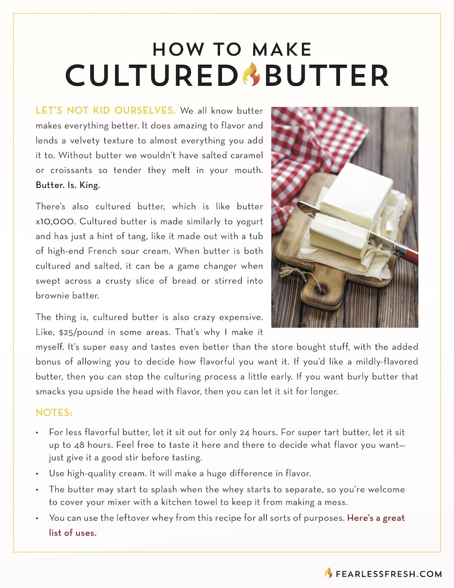 How to Make Cultured Butter Tutorial on https://fearlessfresh.com