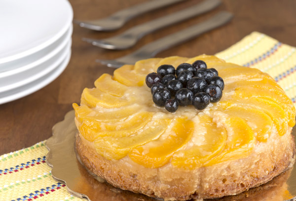 Peach Blueberry Upside Down Cake Recipe on https://www.theculinarylife.com
