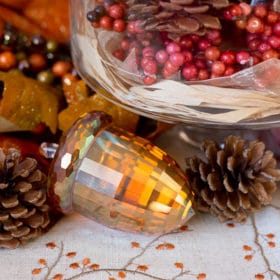 Glass Crystal Acorn -- Thanksgiving Table Decor Tablescapes on https://fearlessfresh.com