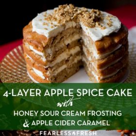 Apple Spice Cake with Honey Frosting and Apple Cider Caramel on https://fearlessfresh.com