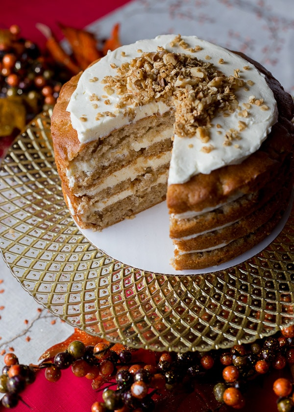 Apple Spice Cake Recipe with Honey Frosting and Apple Cider Caramel on https://fearlessfresh.com