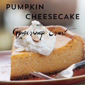 Easy Pumpkin Cheesecake Recipe with Gingersnap Crust on https://www.theculinarylife.com